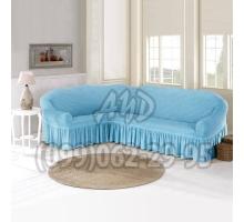 Чехол для углового дивана голубой