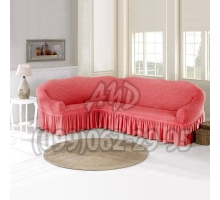 Чехол для углового дивана коралловый