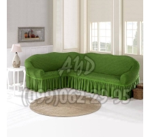 Чехол для углового дивана зеленый