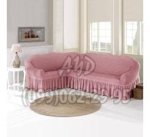 Чехол для углового дивана пудровый