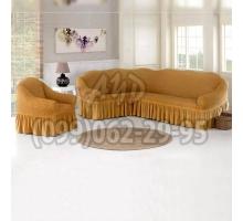 Чехол для углового дивана и кресла янтарный