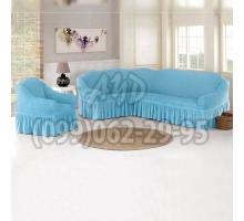 Чехол для углового дивана и кресла голубой