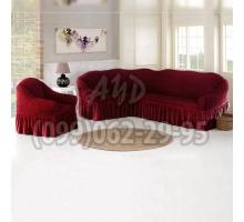 Чехол для углового дивана и кресла бордовый