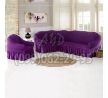 Чехол для углового дивана и кресла ярко-фиолетовый