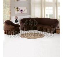 Чехол для углового дивана и кресла шоколадный