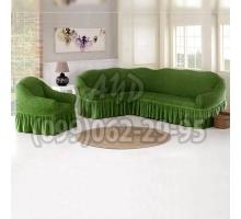 Чехол для углового дивана и кресла зеленый