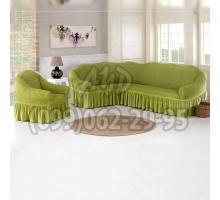 Чехол для углового дивана и кресла оливковый