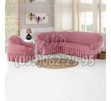 Чехол для углового дивана и кресла пудровый