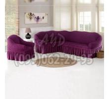 Чехол для углового дивана и кресла фиолетовый