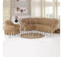 Чехол для углового дивана и кресла песочный