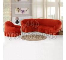 Чехол для углового дивана и кресла черепичный