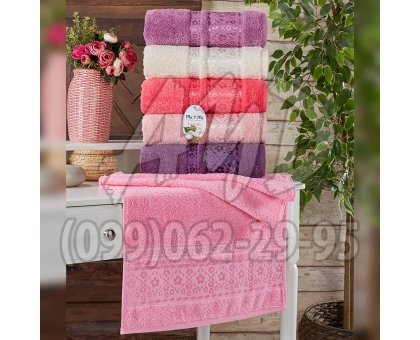 """Махровые полотенца AYD LUXURY COTTON """"Цветочек"""" банные 70x140 (набор 6 шт.)"""